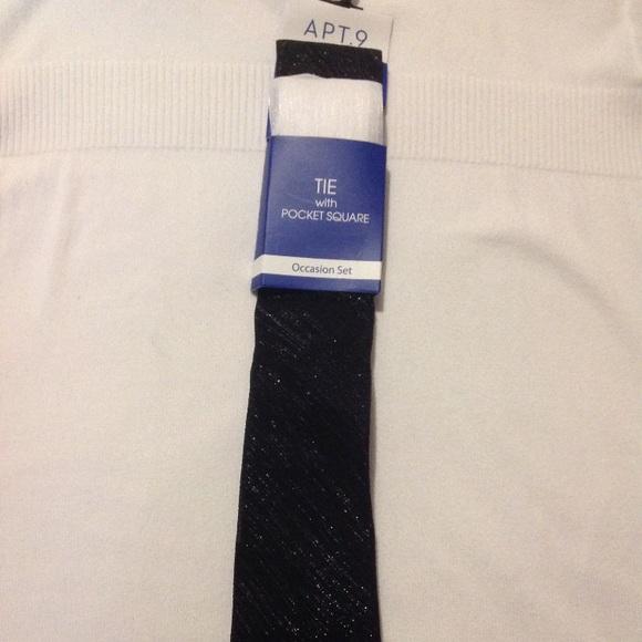 Apt. 9 Other - Apt 9 Owen Shimmer Tie with elegant Pocket Square